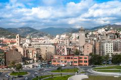Stock Photo of old towers in savona, italy, travel landmark