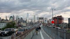 Brooklyn Bridge Traffic Cars Pedestrian Path People Walking NYC New York City Stock Footage