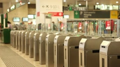 Ticket gate train station Stock Footage