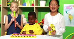 Cute little class making music together Stock Footage