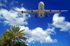 plane at exotic destination - stock photo
