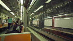 Passenger Guitar Subway Train Interior New York City NYC Stock Footage