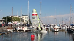 Sailboat flow out of the marina in Gdynia, Poland 2 Stock Footage