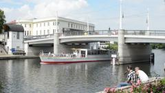 Tourist boat is passing by at Brandenburg Stock Footage