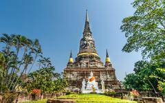 pagoda at wat yai chaimongkol, ayuthaya,thailand - stock photo