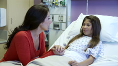 Mother And Daughter In Pediatric Ward Of Hospital Stock Footage