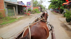 MEKONG DELTA, VIETNAM - MAY 2014: local horse riders Stock Footage