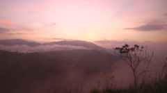 View of foggy sunrise on the Little Adam's Peak in Ella. - stock footage