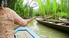 Rower Paddle Canoe at Majestic Gorgeous Mekong River, Vietnam - stock footage