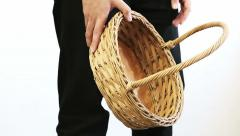 Man with Empty Basket Stock Footage