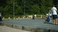 Men playing petanque or boules Stock Footage
