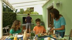 Barbecue on terrace at home Stock Footage