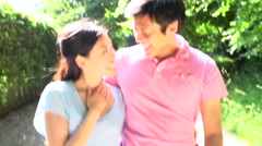 Romantic Asian Couple On Walk In Countryside Stock Footage