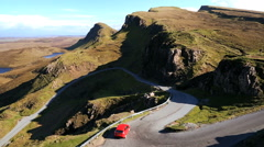 Vehicle Scottish highland road over Trotternish Ridge Skye Scotland - stock footage
