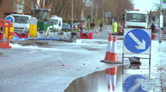 Water Being Pumped From Flooded Road Junction Stock Footage