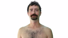 Facial hair, beard, mustache changing, white background, 4K Stock Footage