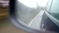 Rainy Car Journey Through Viewed Wing Mirror Stock Footage