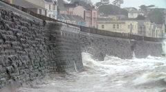 Large Waves Breaking Against Sea Wall At Dawlish In Devon Stock Footage