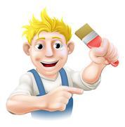 cartoon painter or decorator - stock illustration