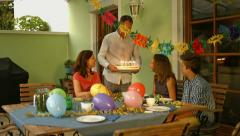 Birthday party on terrace Stock Footage