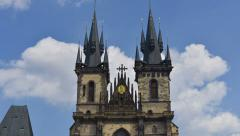 Prague tyn church wide time lapse tilt 11417 Stock Footage