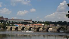 4k UHD boat traffic charles bridge prague pan time lapse 11420 Stock Footage