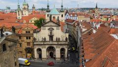 Tilt historic roofs and towers of prague time lapse 11423 Stock Footage