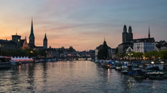 Zurich Skyline and the River Limmat at Sunset, Switzerland Stock Footage