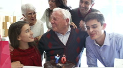 Family Celebrating 70th Birthday Together Stock Footage