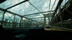 Driving Over Brooklyn Bridge Rear Window of Taxi Cab New York City Manhattan Stock Footage