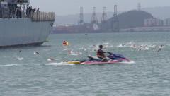 Bay ocean swimmers swimming race start 4 Stock Footage