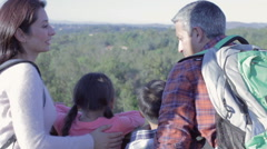 Family Taking Selfie On Viewing Platform At The End Of Hike Stock Footage