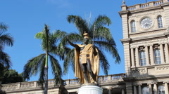 King Kamahamaha Statue Honolulu, Oahu, Hawaii Stock Footage