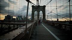 Brooklyn Bridge Sunset Cars Driving Traffic Manhattan Skyline New York City Stock Footage