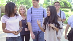 Group Of University Students Walking And Talking On Campus Stock Footage