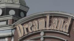 Nara Dreamland main entrance sign at abandoned theme park. 0575 Stock Footage