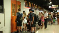 People boarding a train - Underground Stock Footage