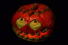 4K. Carved Halloween pumpkin ALPHA matte, Ultra HD, 4096x2730. Stock Footage