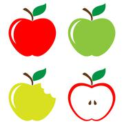 Set of apples - stock illustration