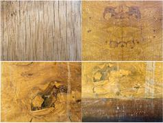Interesting collage of four textures of old mahogany Stock Photos