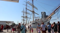 Huge sailing ship in Gdynia, Poland. Kosciuszko Square in Gdynia Stock Footage