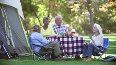 Two Senior Couples Enjoying Camping Holiday In Countryside Stock Footage