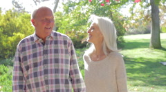 Senior Couple On Romantic Walk In Countryside Together Stock Footage