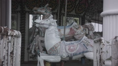 Carousel at abandoned theme park. 0552 Stock Footage
