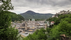 Panorama of Salzburg, Austria with the Hohensalzburg Castle Stock Footage