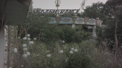 Soft focus flowers in breeze at abandoned theme park. 0555 Stock Footage