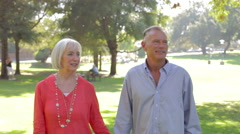 Senior Couple On Romantic Walk Through Park Together Stock Footage