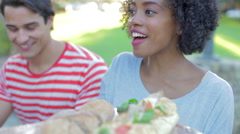Group Of Friends Enjoying Outdoor Meal Together - stock footage