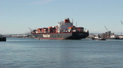 Container Ship Dallas Express Enters Port Stock Footage