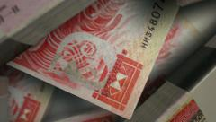 Hong kong dollar notes scattered pile pan above Stock Footage
